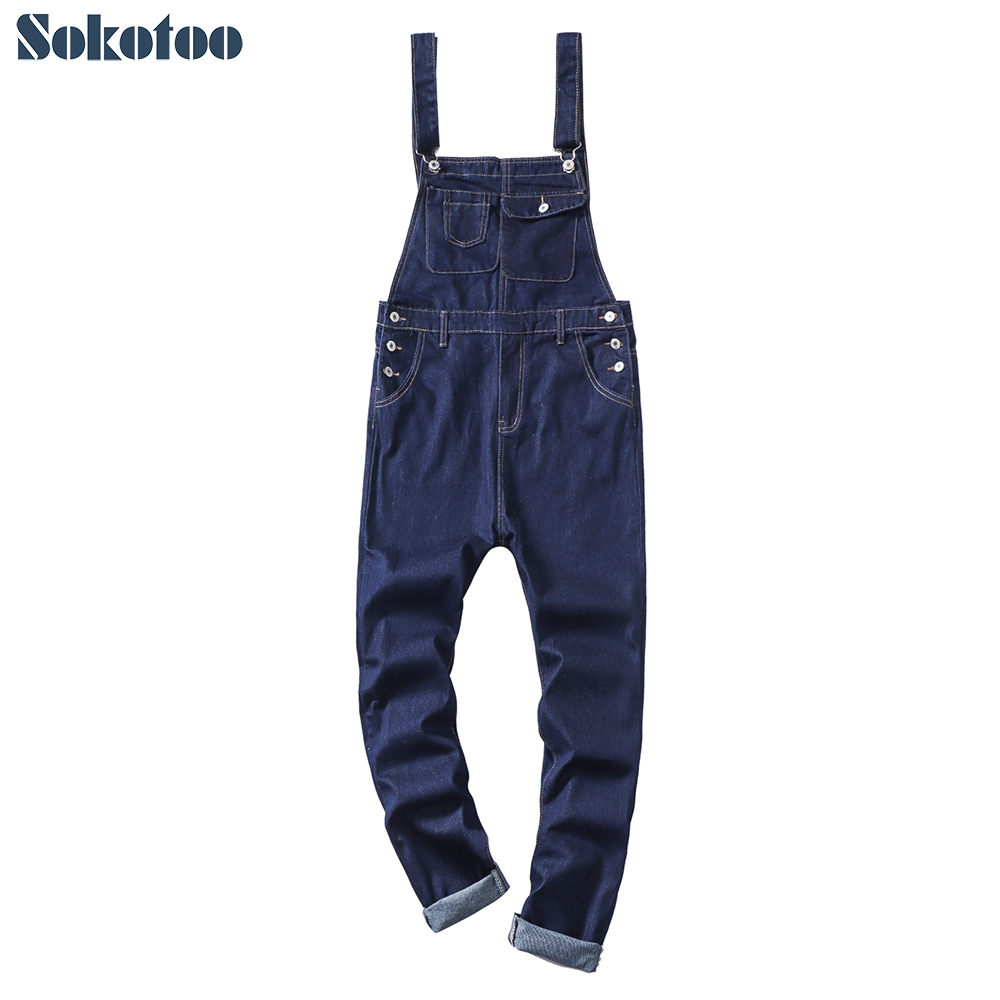 Sokotoo Men's Dark Blue Denim Bib Overalls Slim Fit Jeans Suspenders Jumpsuits