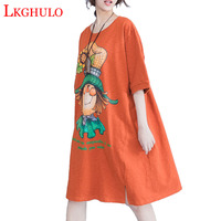 LKGHULO Plus Size Summer T Shirt Dress Animal Pattern Print Cotton Female T Shirt Fashion Big Size Black Loose New Tops A133