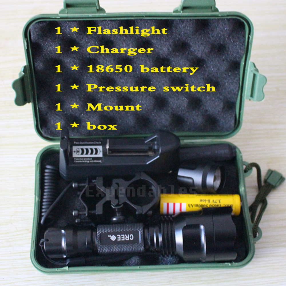 5000 lumen XML-T6 Tactical Flashlight Aluminum Hunting Flash Light Torch Lamp +18650+Charger+Gun Mount+Pressure Switch+box 6000lumens bike bicycle light cree xml t6 led flashlight torch mount holder warning rear flash light