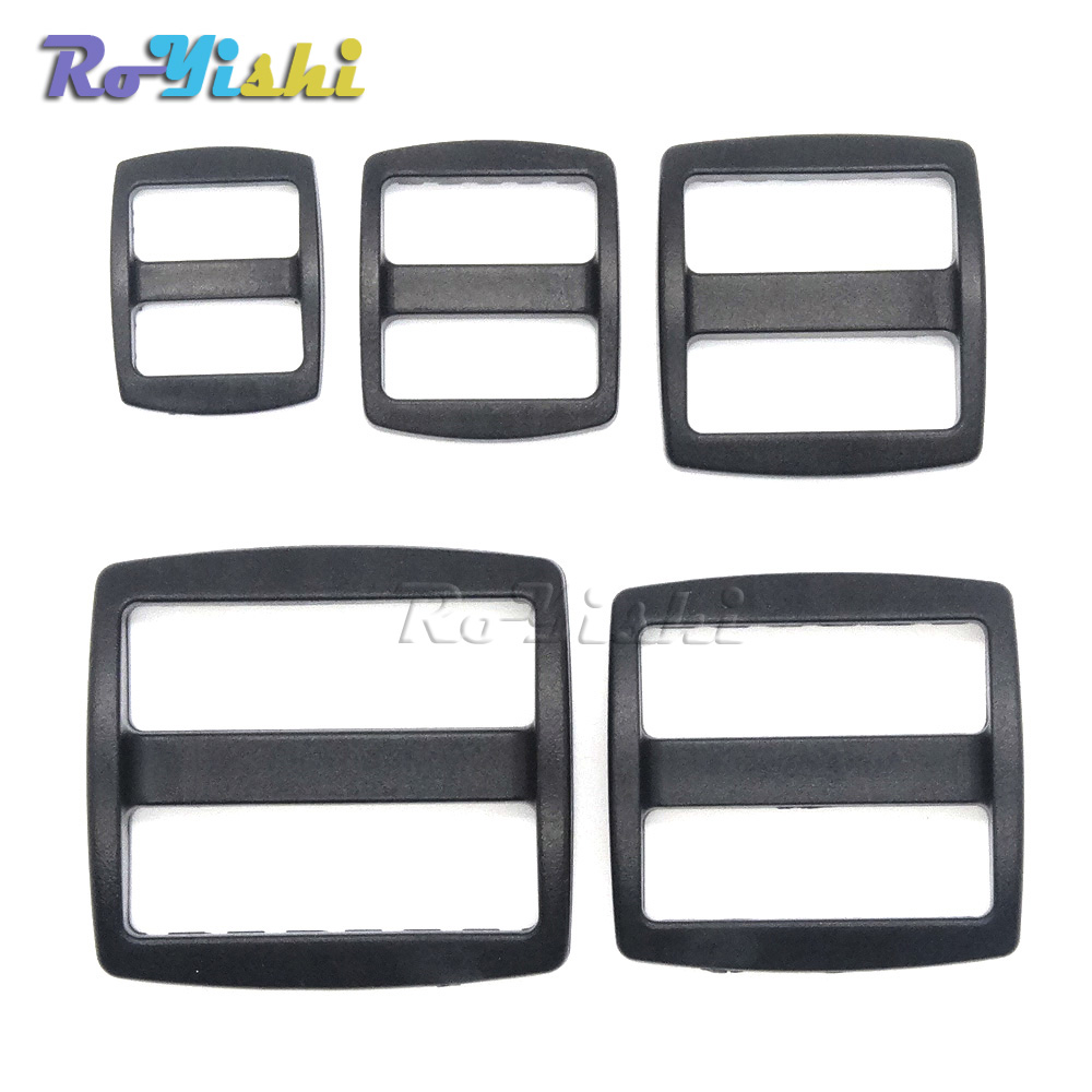 Temperate 1000pcs/pack Plastic Slider Tri Glide Adjust Buckles Wider Style Backpack Straps Black Agreeable To Taste Buckles & Hooks