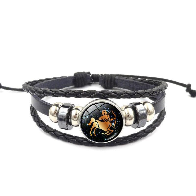 1 Pcs 12 Zodiac Signs Leather Bracelet Virgo Libra Scorpio Aries Taurus Bracelets Jewelry M8694 Last Style Jewelry & Accessories Bracelets & Bangles