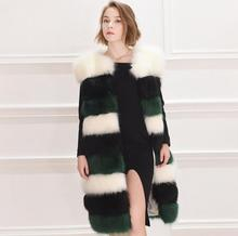 2017 Fall/winter warmed faux fur Vest coat Fashion slim fur stripe overcoat S-4XL plus size faux fur Topcoat plus size stripe faux twinset dress