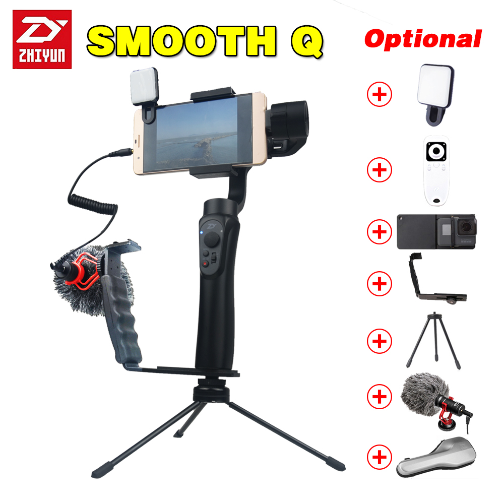 Zhiyun smooth q Handheld 3 Axis phone gimbals Stabilizer for action camera Smartphone gopro xiaomi yi 4k sjcam cam