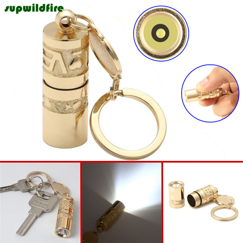Golden Mini Portable LED Flashlight Torch Lamp Handheld Camping Keychain Light Free Shipping #NO13