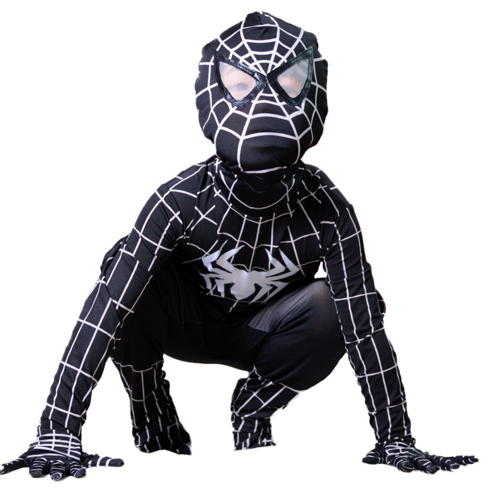 Kids Black Spiderman costume Halloween costumes for kids superHero spider-man Cosplay Spandex Full bodysuit Children fancy dress