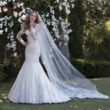 Custom Made syrenka z długim rękawem tiulowe koronkowe aplikacje kwiaty frezowanie Sexy luksusowe suknie ślubne Vestido de Noiva 2020 WH59