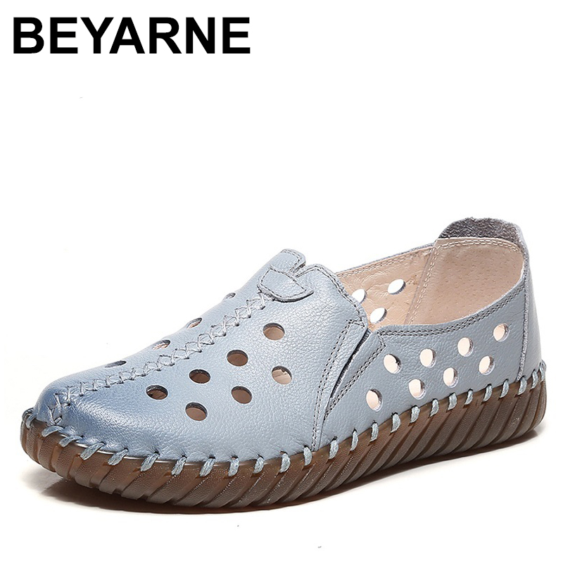 BEYARNE ummer Soft Genuine Leather Women Loafers Flat Casual Shoes Breathable Hollow Handmade Slip On Flats Shoes Woman drkanol summer slip on flats breathable hollow out women flat loafers shoes round toe bow knot soft genuine leather casual shoes