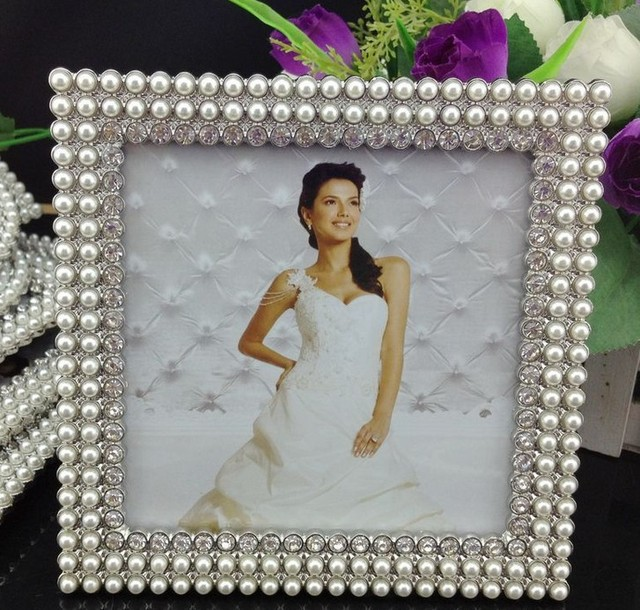 High End 5x5 Inch Stands Square Zinc Metalglass Picture Frame White