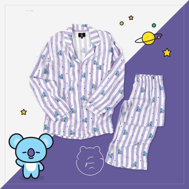 Männer Pijamas BT21 Pyjamas Kpop BTS Fans Nachtwäsche Koya RJ TATA CHIMMY COOKY Cartoon Shirts Und Hosen Baumwolle Homewear Sets