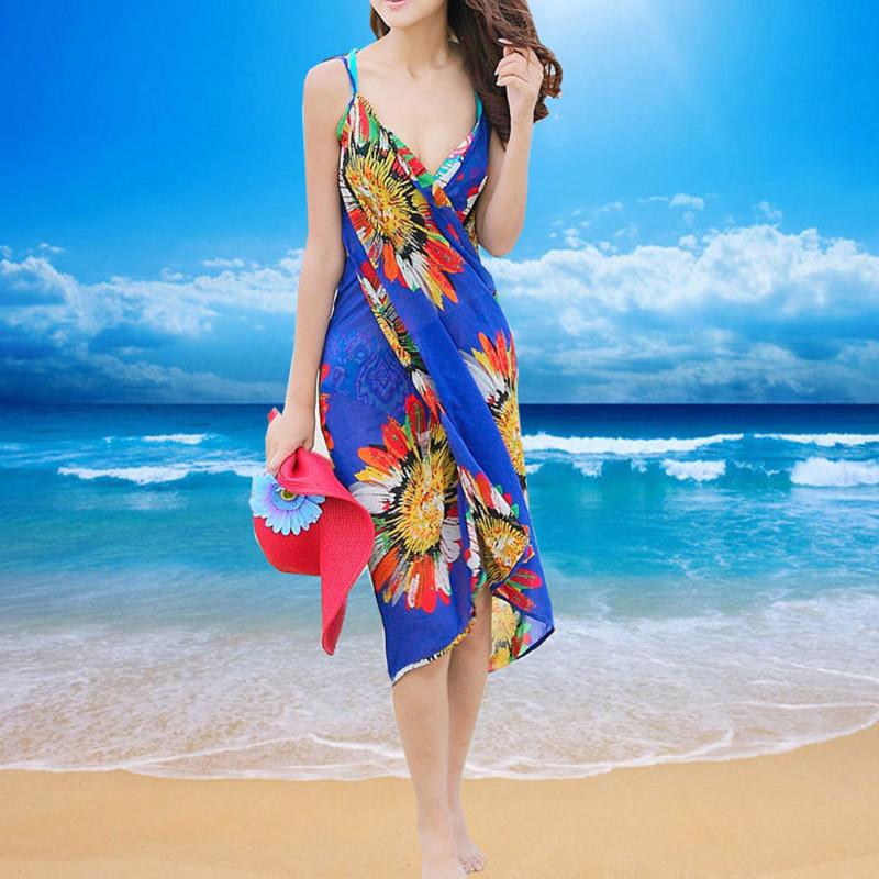 Women Beach Dress Swimwear Sexy Sling Beach Wear Dress Sarong Bikini Cover-ups Wrap Pareo Skirts Towel Flower Open-Back Swimsuit 8
