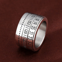 Nunber Secert Codes Design Rotatable Spinner Ring For Cool Man Punk Style Stainless Steel Fashion Jewelry