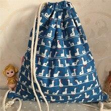 YILE Cotton Linen Drawstring Backpack Book Bag Printed