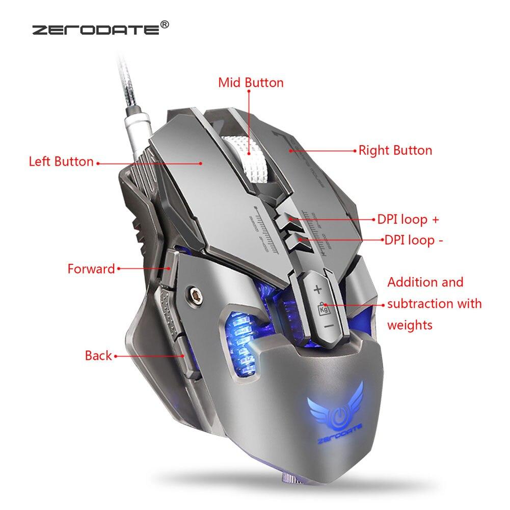 Souris de jeu mécanique USB filaire 7 boutons 4000 DPI LED rétro-éclairage souris d'ordinateur optique pour Gamer HSJ-19
