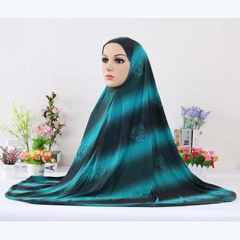 Islamskie kobiety odzież natychmiastowy hidżab Turban z diamentami kwiat hidżabu czapki chusty turkish hidżab rozszerzenia szyi klatki piersiowej 1pc tanie i dobre opinie RASINISILK Zwykły hijabs Dla dorosłych Polyester Moda KX-MSL103 Diamonds Other 120x120cm
