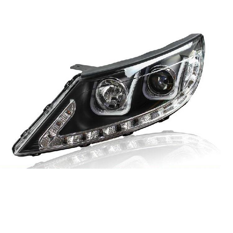 Ownsun Double U Sharp LED DRL Bi-xenon Projector Lens Headlights For Kia Sportage R 2011 2012 2014
