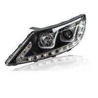 Ownsun Double U Sharp LED DRL Bi xenon Projector Lens Headlights For Kia Sportage R 2011 2012 2014