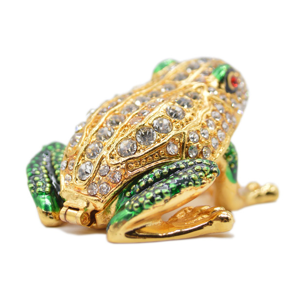 QIFU Fashion Wholesale Metal Crystal Rhinestone Imperial Green Frog