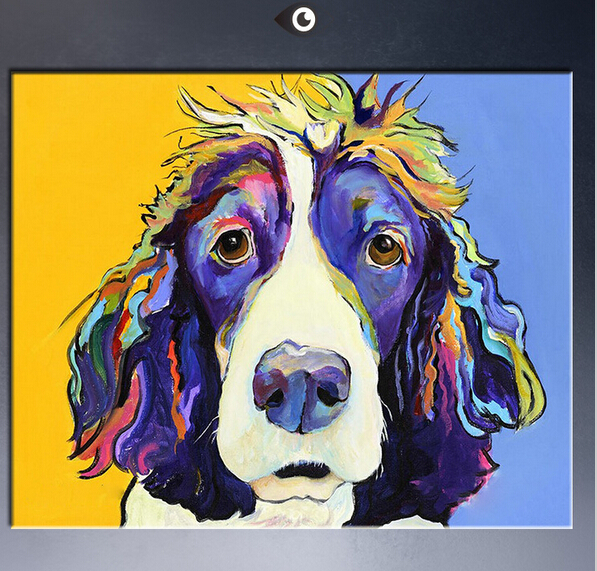 Popular art in 2015 famous dog the beautiful color Animal Oil ...