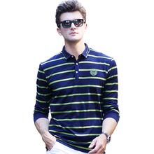 Men Polo Shirt Striped Long-Sleeved Men's Polos Embroidery Polo Shirts Man Hot-Sale Autumn&Spring Casual Shirt Slim Polos