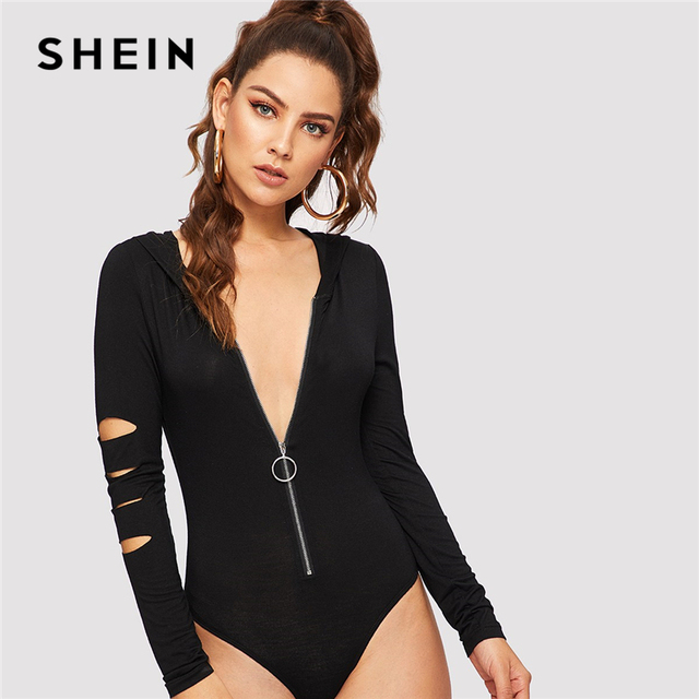 95676c8a4ad US $28.33  SHEIN Black O ring Zip Up Hooded Cut out Skinny Bodysuit Modern  Lady Casual Long Sleeve Women Autumn Sexy Party Bodysuits-in Bodysuits from  ...