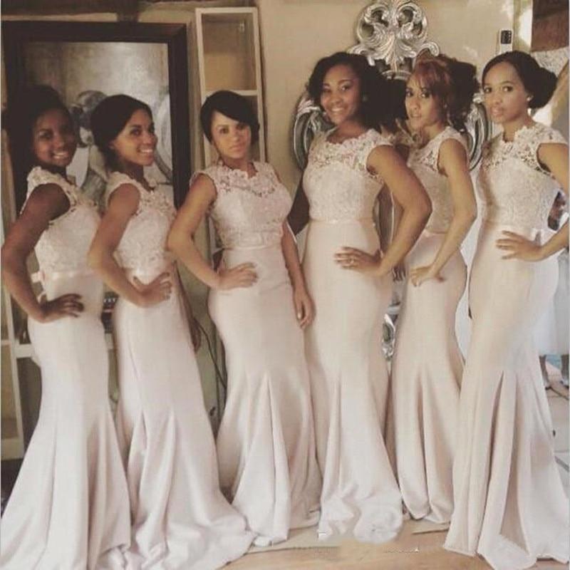 Elegant Lace Satin Mermaid   Bridesmaid     Dresses   Lace Floor Length Formal   Dresses   robe demoiselle d'honneur Burgundy   dress   Long