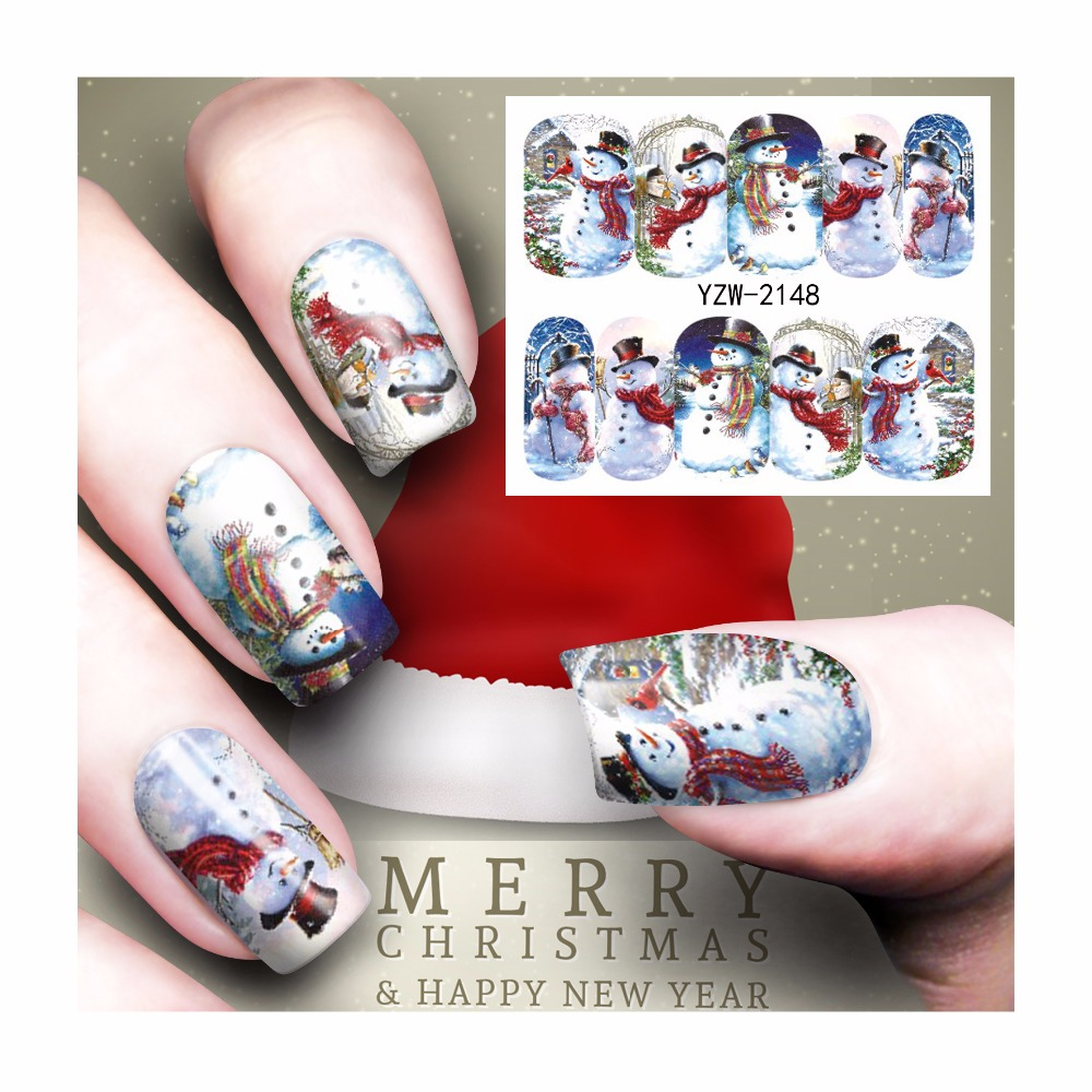 FWC Watermark Nail Stickers Christmas Nail Art Water Transfer Sticker Decals Manicure Wraps Decor 2148 настенные часы gastar t 576 c
