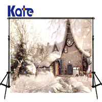 KATE Christmas Snowy Background Christmas Village Houses Backdrops Arbol Navidad Backgrounds for Photocall Infantil Tapestry