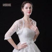 NZUK חדש מניות של נשים/בנות 3/4 שרוול ארוך לבן כתפי תחרה קצוץ בולרו חתונת jacket חתונת כורכת לבן