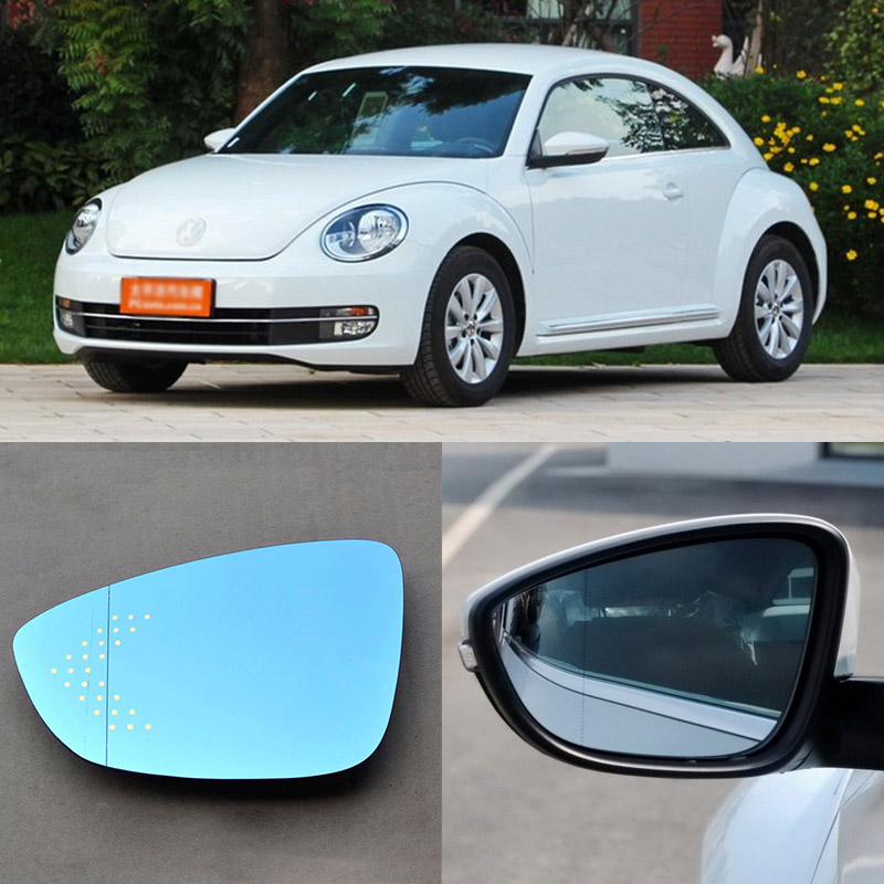 For Volkswagen Beetle Brand New Car Rearview Mirror Blue Glasses LED Turning Signal Light with Heating for volkswagen sagitar brand new car rearview mirror blue glasses led turning signal light with heating