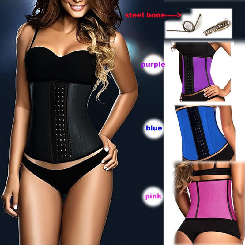 100% Latex Waist Trainer Corset 9 Steel Bone Shapewear Hot Body Shapers Women Corset Slimming Belt Waist Shaper Cinta Modeladora
