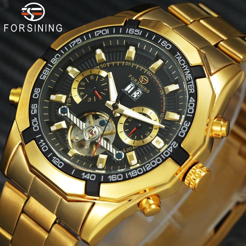 все цены на Royal Golden Automatic Watch Men FORSINING Tourbillon Mechanical Watches Steel Strap Sub-dials Calendar Clock Top Brand Luxury онлайн