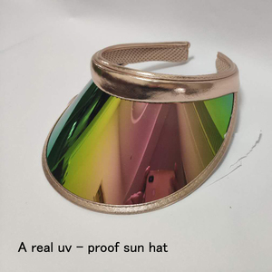 2019 New Summer Women Men Sun Hat Candy Color Transparent Empty Top Plastic PVC ja Sunshade Hat Visor Caps Bicycle Sun Hat(China)