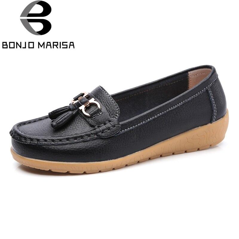 BONJOMARISA Big Size 35-44 Women Comfy Boat Flats Split Leather Tassel Shoes Woman Slip On Boat Ballet Shoes Female Moccasins