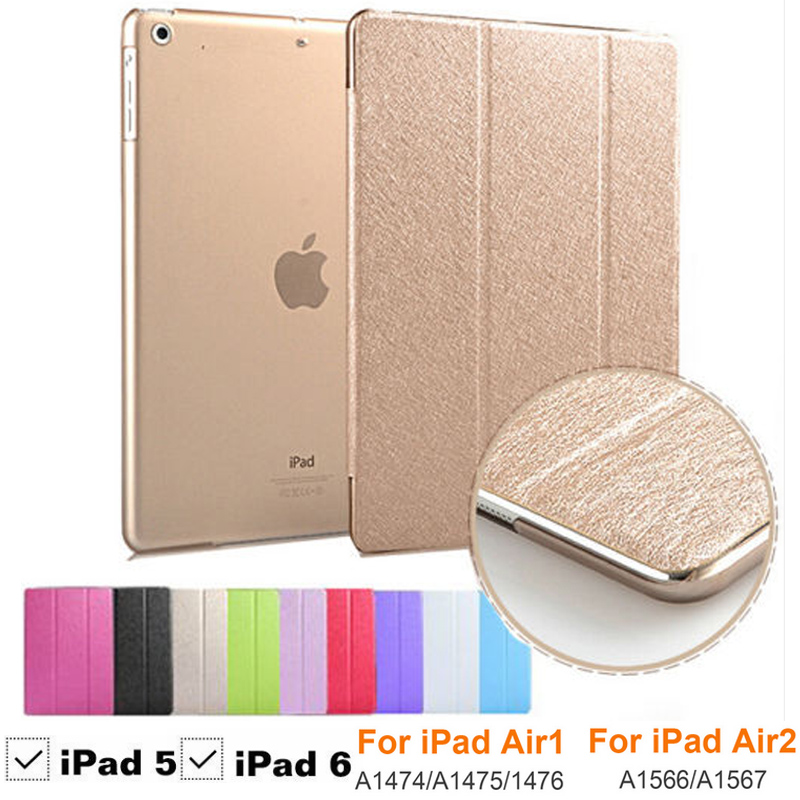 Ultra Slim Shockproof Case For iPad Air 2 iPad 6 Smart Stand Folding PU Leather Flip Cover for Apple iPad 6 A1566 A1567