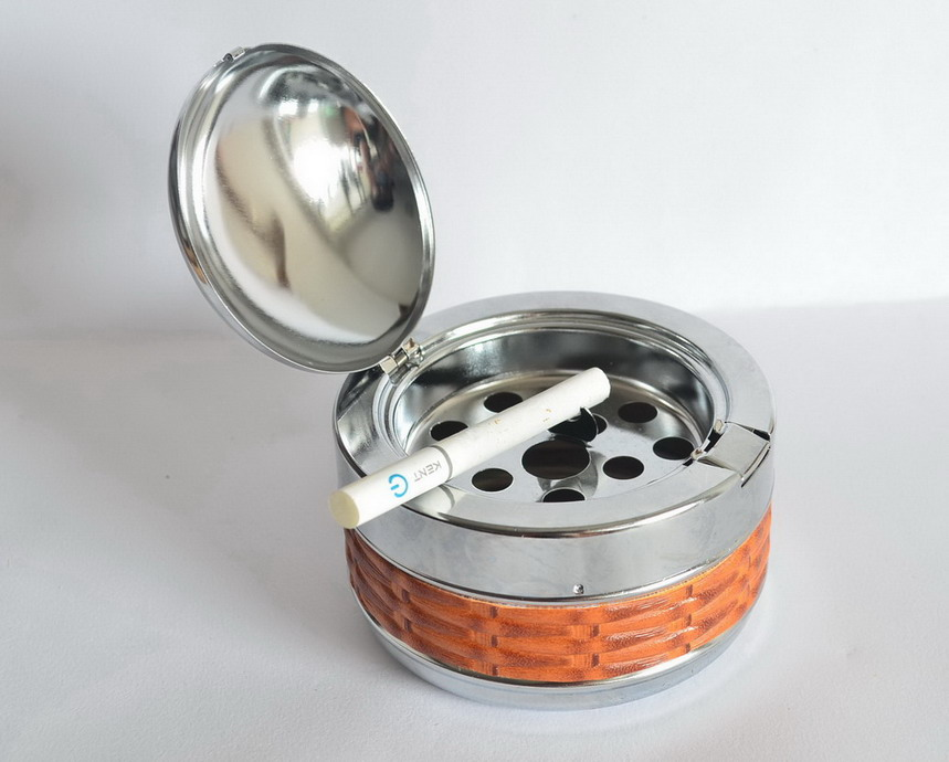 PL 612 Deluxe metal & leather Portable ASHTRAY for men ,outdoor ...