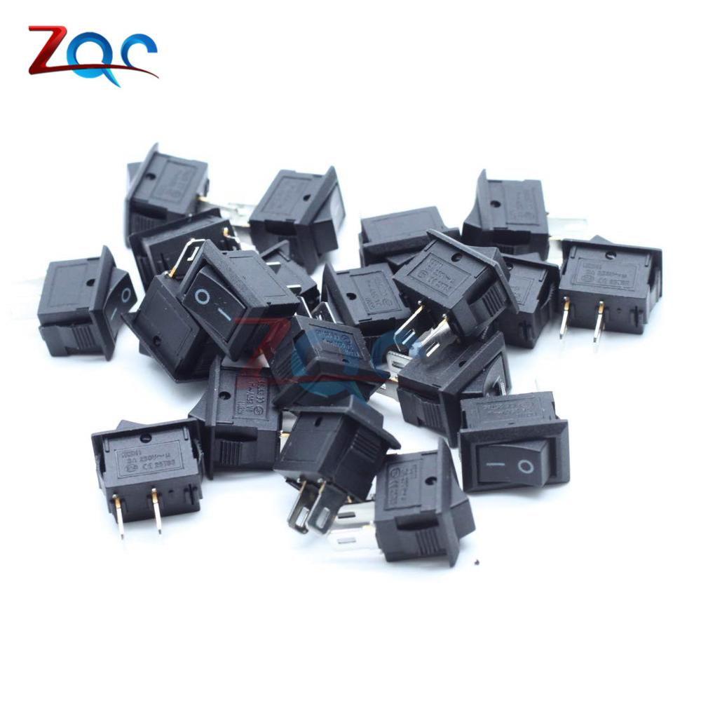 10Pcs Push Button Switch 10x15mm SPST 2Pin 3A 250V KCD11 Snap-in On/Off Boat Rocker Switch 10MM*15MM Black Red And White