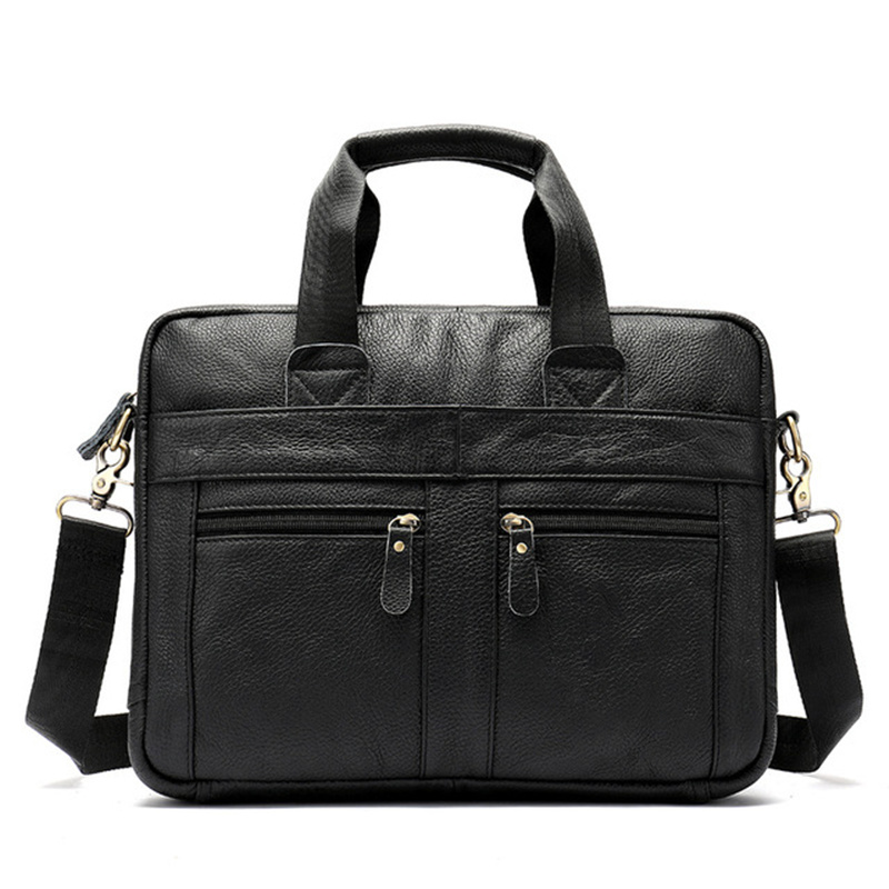 Man Briefcases Genuine Leather Fashion Laptop Notepad Shoulder Crossbody Messenger Bag Bolsa Business Travel Multi-Pocket Gifts