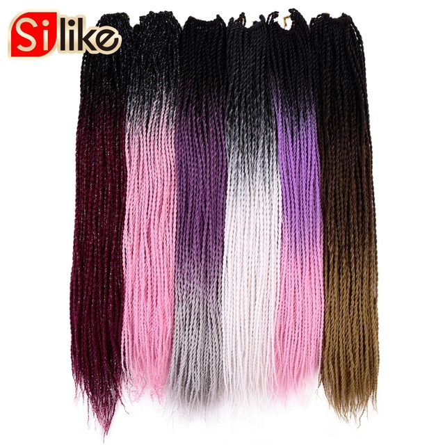 Silike 24 inch Ombre Senegalese Twist Hair Crochet Braids 30 Roots Synthetic Crotchet Braiding Hair for Women 1 pack/lot 95g