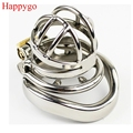 Happygo Stainless Steel Stealth Lock Male Chastity Device with Anti-Shedding Ring,Cock Cage,virginity Belt,Penis Ring,A273-1