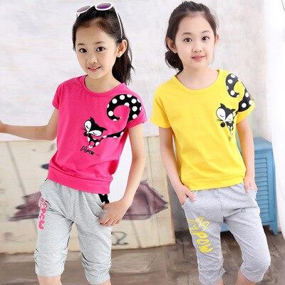 75c9da1ff ... traje deportivo para niñas uniforme escolar. Cheap V TREE conjunto de  ropa para adolescentes conjunto de chándal de verano para niñas conjuntos