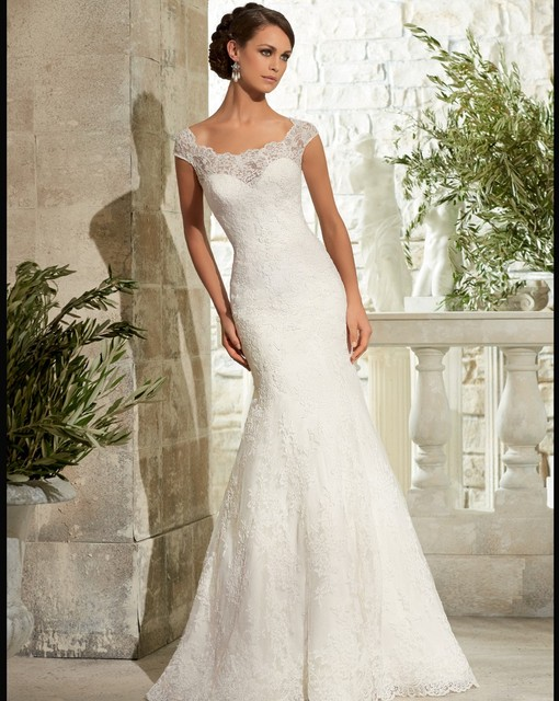Newest Cap Sleeve Lace Wedding Dress Y Mermaid Scoop Neck Gown 2016 Hot Bridal