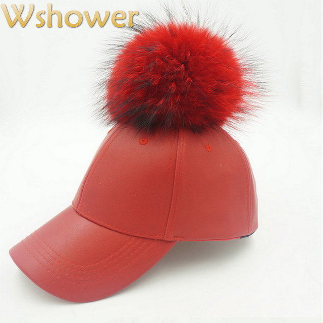 Autumn Winter Real Raccoon Fur Pompom Pu Baseball Cap Hip Hop Women Men Fashion Faux Leather Snapback Hat With Fur Ball Pom Pom
