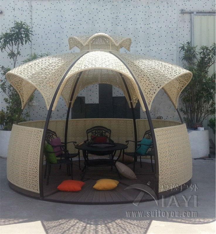 Dia 3.5 meter steel iron gazebos PE rattan deluxe outdoor gazebos garden  patio pavilion outdoor furniture - Online Get Cheap Gazebo Furniture -Aliexpress.com Alibaba Group
