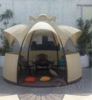 Dia 3.5 meter steel iron gazebos PE rattan deluxe outdoor gazebos garden patio pavilion outdoor furniture