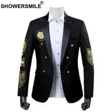SHOWERSMILE Singer Costume Men Blazer Black Red British Medal Suit Jacket Spring Autumn Mens Fashion Dancer Stage Wear