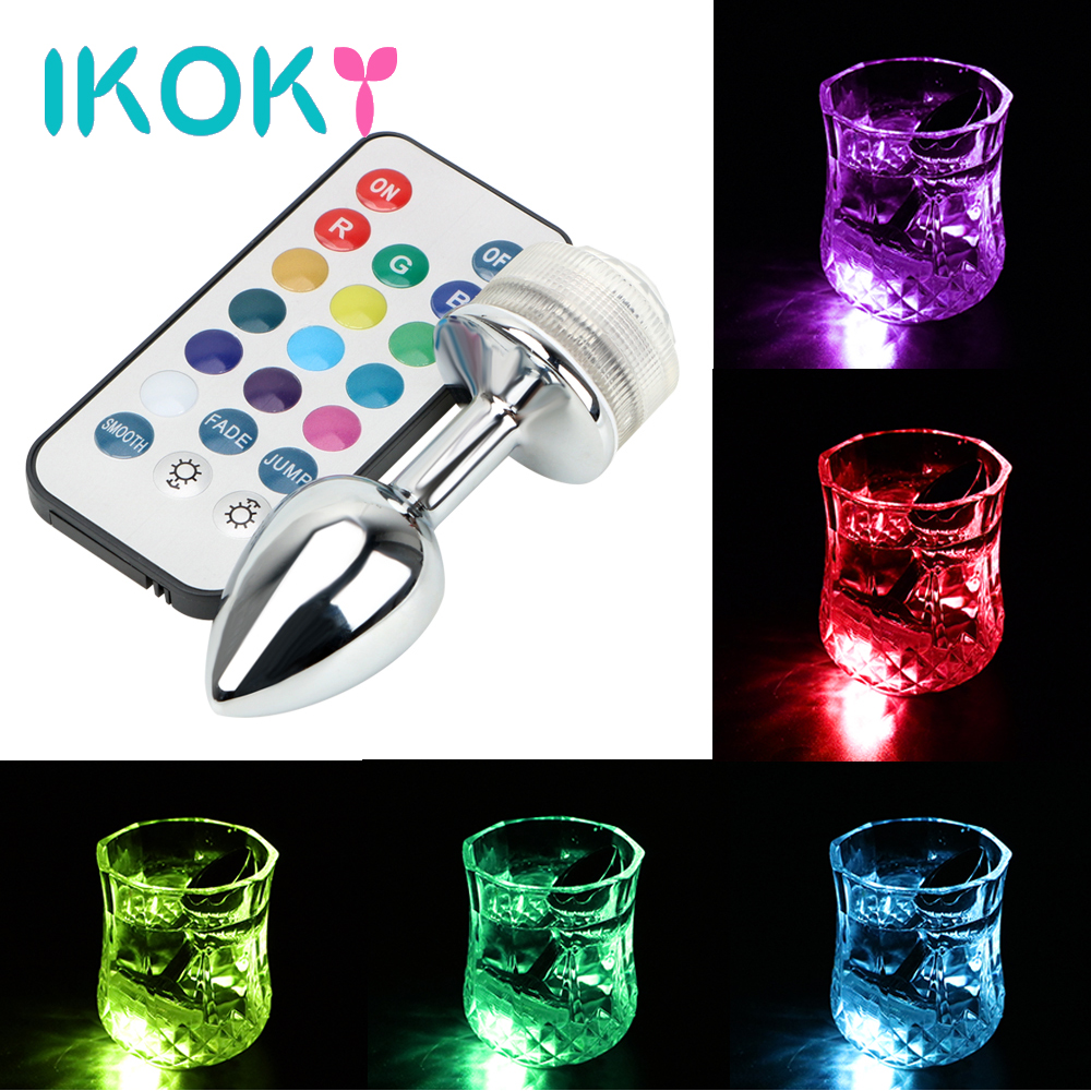 IKOKY LED Light Metal <font><b>Anal</b></font> Plug No <font><b>Vibrator</b></font> <font><b>Sex</b></font> <font><b>Toys</b></font> <font><b>For</b></font> <font><b>Couples</b></font> Remote Control Stainless Steel Butt Plug Prostate Massager image