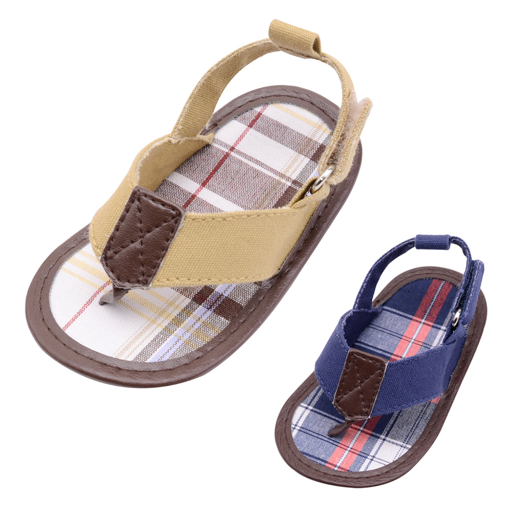 2020 Newest Canvas Baby Shoes Gingham Patch 0-18Month Baby Boy Summer Style Hook&Loop Prewalker Shoes