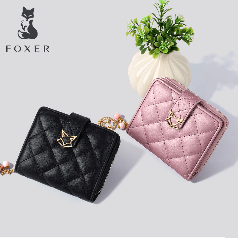 FOXER Brand Women Leather Zipper Wallets Coin Pueses For Female Fashion Short Purse & Clutch Bag foxer brand women split leather wallets female clutch bag fashion coin holder luxury purse for lady women s long wallet