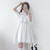 Embroidery Double Falbala Strapless Victorian Dress White Sweet Lolita Dress Summer Kawaii Girl Cute Gothic Lolita Cos Loli Op