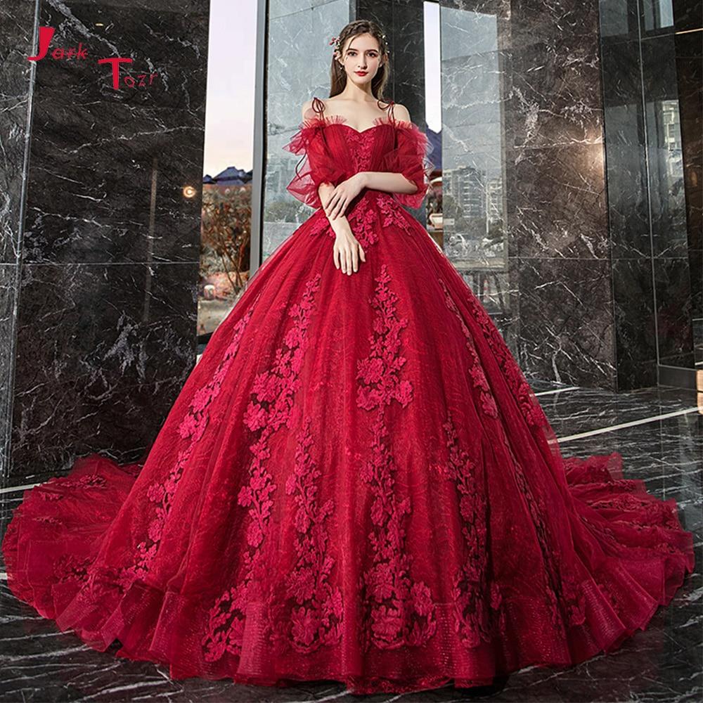 Vestido De Noiva Princesa 2019 Custom Made Half Sleeve Pleat Lace Appliques Burgundy Princess Ball Gown